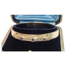 Antique Bangle Bracelet , 15 CT. & Amethysts