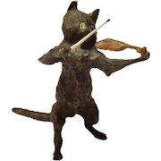 Antique Vienna Bronze Cold Painted Cat & Fiddle