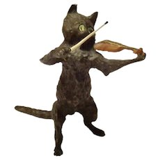 Antique Vienna Bronze Cold Painted Cat & Fiddle