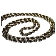 """Vintage Sterling Rope Chain , 23"""" Long"""