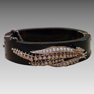 Victorian Bangle Bracelet ,  Onyx, 14K Rose Gold & Seed Pearls