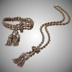 Exquisite Victorian Revival 14K Bracelet & Necklace , 140 Grams