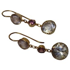 For R M ...... Antique Earrings, 15 CT Yellow Gold , Quartz Rock Crystal & Garnet