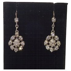 Victorian Paste Earrings , Silver & 15 CT.