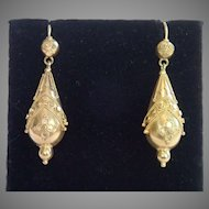 Etruscan Revival Earrings , 15 CT. , C. 1870