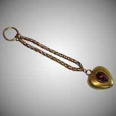 Antique 18 CT Gold Puffy Heart Charm With Garnet