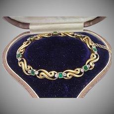 Sale Pending for J S ...... French Bracelet ;  18 CT,  Emeralds , Diamonds & Platinum