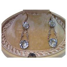 Sale Pending For  N ...... Edwardian Earrings,  Aquamarine & Rose-Cut Diamonds In 15 CT.