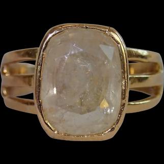 Antique Ring, English, 18 CT & Rock Quartz Crystal