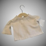 "Doll Blouse ,Cotton Pique ,  9"" Neck , French C. 1880"