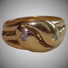 Victorian 18 CT & Diamond Snake Ring