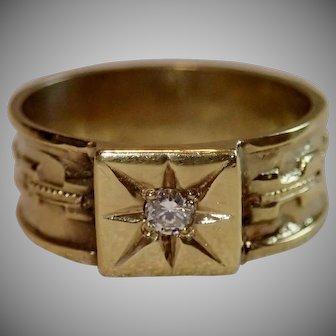 Victorian 14K & Diamond Band Ring