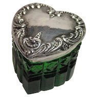 Sterling & Glass Heart Vanity Jar