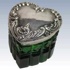Sterling & Glass Heart Vanity Jar