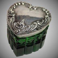 Sterling Heart  & Glass Vanity Jar