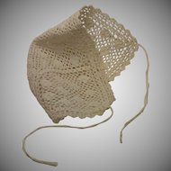 Crocheted Doll Bonnet , French C. 1880