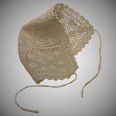 Crocheted Doll Bonnet , French C. 1880