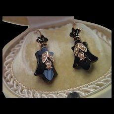Victorian Earrings , 14K , Onyx & Enamel