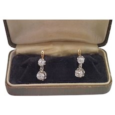 French Diamond Earrings , 18K & Platinum