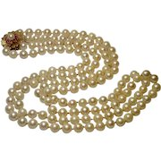 Double Cultured Pearl  Necklace W/ 14K & Pink Sapphire Clasp , Mid-Century