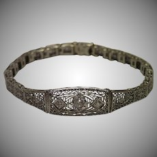 Vintage, Filigree 14K White Gold & Diamond Bracelet