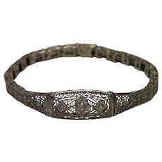Vintage, Filigree 14K White Gold & Diamond Bracelet