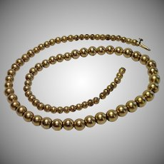 Antique Gold Fill Bead Necklace 14""