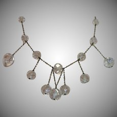 Art Deco Necklace , Quartz Rock Crystal & Sterling