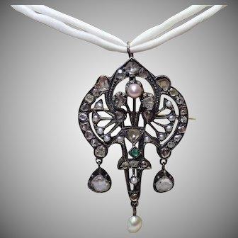 Early Victorian Pendant /Brooch W/ Rose-Cut Diamonds , Emerald & Pearls