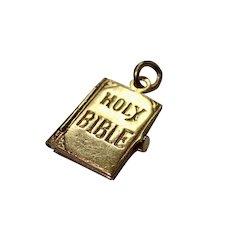14K  Charm, Holy Bible w/ Ten Commandments