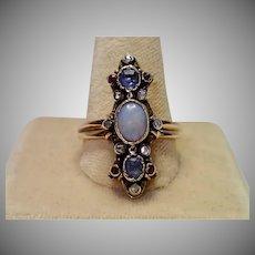 Antique Ring, 18K, Opal, Rose-Cut Diamonds & Gems , W/ French Owl Hallmark