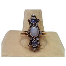 Antique Ring, 18K, Opal, Rose-Cut Diamonds & Gems , W/ French Owl Hallmark