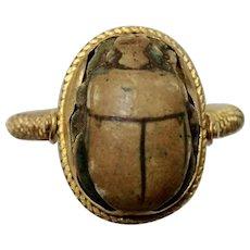 Vintage 18K & Egyptian Scarab Flip Ring