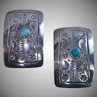 Mexican Sterling & Turquoise Clip Earrings