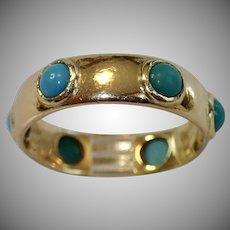 Antique Ring , Turquoise & 15 CT