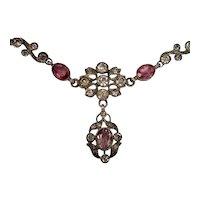 Antique Paste Necklace In Silver