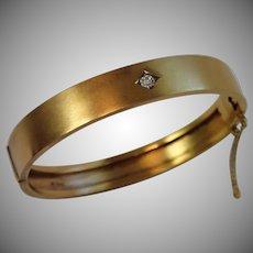 Antique Bangle Bracelet , 15 CT. & Diamond