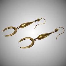Antique Earrings, 15 CT , Equestrian Motif