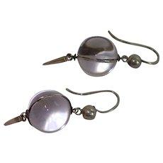 Vintage Pools Of Light Earrings ; Rock Quartz Crystal & Silver