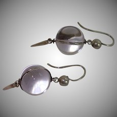 Vintage Pools Of Light Earrings ; Rock Quartz Crystal & Silver
