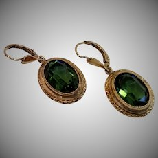 Vintage Earrings, Rolled Gold, 14K & Glass 'Stones'