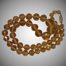 Vintage Citrine Necklace With 14K Clasp
