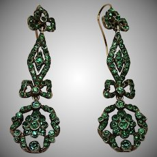 Victorian Emerald Paste Earrings In Silver W/ 15CT Wires