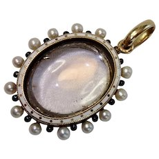 Antique Quartz Rock Crystal Pendant W/ Locket Back , 15 CT , Natural Pearls & Enamel