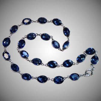 Early Victorian Sapphire Paste Riviere Necklace In Sterling