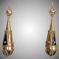 Etruscan Revival Earrings , 15 CT & Enamel