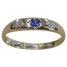 Antique Diamond & Sapphire Ring, 18CT