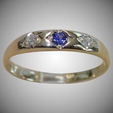 Antique Diamond & Sapphire Ring, 18CT