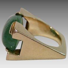 Emerald & 18K Ring , C.1980 By French / American Designer