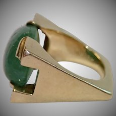 Emerald & 18K Ring , C.1980 By French / American Designer